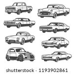 retro cars and vehicle types.... | Shutterstock .eps vector #1193902861