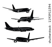 airplane silhouette  vector | Shutterstock .eps vector #1193911594