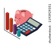calculator math with saving... | Shutterstock .eps vector #1193929351
