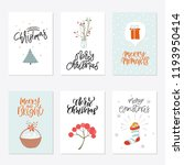 collection of 6 cute merry... | Shutterstock .eps vector #1193950414