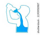 the teen is drinking water.... | Shutterstock .eps vector #1193950987
