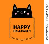 happy halloween. cute black cat ... | Shutterstock .eps vector #1193951764