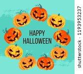 vector cute happy halloween... | Shutterstock .eps vector #1193953237