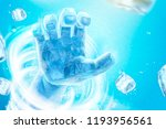 frozen hand with whirlwind and... | Shutterstock .eps vector #1193956561