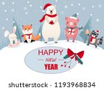 happy new year card with cute... | Shutterstock .eps vector #1193968834