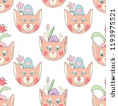 cute fox with flowers seamless... | Shutterstock .eps vector #1193975521