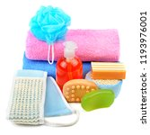 cotton towels  cosmetic soap ... | Shutterstock . vector #1193976001