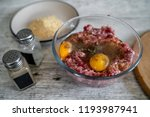 minced meat  eggs  pepper  salt ... | Shutterstock . vector #1193987941