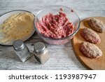 prepare chops on a gray... | Shutterstock . vector #1193987947