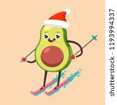 cute avocado kid in santa claus ... | Shutterstock .eps vector #1193994337