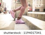 Detail Of Woman's Legs While...