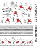 hand drawn folk art elements...   Shutterstock .eps vector #1194025027