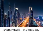 dubai downtown night view with... | Shutterstock . vector #1194037537