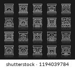fireplace thin line icon set.... | Shutterstock .eps vector #1194039784