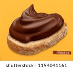 chocolate spread on bread. 3d... | Shutterstock .eps vector #1194041161