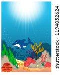 beautiful underwater world... | Shutterstock .eps vector #1194052624