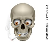 Raster version. Human Skull  with eyes and cigarette. Illustration on white background - stock photo