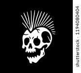 skull punk icon black background | Shutterstock .eps vector #1194080404