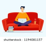 man with computer work on sofa. ... | Shutterstock .eps vector #1194081157
