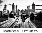 black and white skyline of... | Shutterstock . vector #1194085597