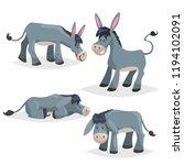 cute cartoon donkeys set.... | Shutterstock .eps vector #1194102091