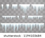 set of icicles on a transparent ... | Shutterstock .eps vector #1194103684