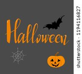 halloween lettering pumpkin bat | Shutterstock . vector #1194116827