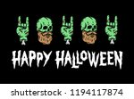 happy halloween skull zombie... | Shutterstock .eps vector #1194117874