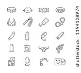Stock vector sex shop related icons thin vector icon set black and white kit 1194128974