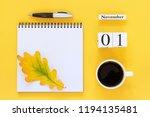 autumn composition. wooden... | Shutterstock . vector #1194135481