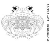 drawing cute frog with long... | Shutterstock .eps vector #1194143791