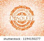 obsolete orange mosaic emblem | Shutterstock .eps vector #1194150277
