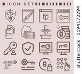 simple set of  16 outline icons ... | Shutterstock .eps vector #1194172294