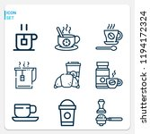 simple set of  9 outline icons... | Shutterstock .eps vector #1194172324