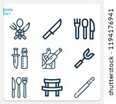 simple set of  9 outline icons... | Shutterstock .eps vector #1194176941