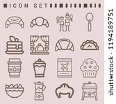 simple set of  16 outline icons ... | Shutterstock .eps vector #1194189751