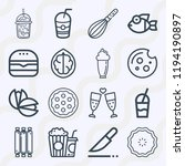 simple set of  16 outline icons ... | Shutterstock .eps vector #1194190897