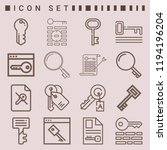 simple set of  16 outline icons ... | Shutterstock .eps vector #1194196204