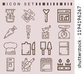 simple set of  16 outline icons ... | Shutterstock .eps vector #1194196267