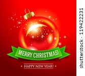 christmas card with red bauble... | Shutterstock .eps vector #119422231