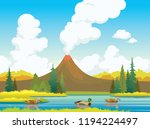 nature illustration with three... | Shutterstock .eps vector #1194224497