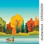 autumn landscape   cartoon duck ... | Shutterstock .eps vector #1194226234