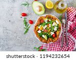 omelet with fresh tomatoes ... | Shutterstock . vector #1194232654