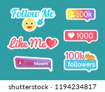 follow and like me stickers...   Shutterstock .eps vector #1194234817