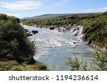 view of hraunfossar series of... | Shutterstock . vector #1194236614