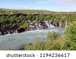 view of hraunfossar series of... | Shutterstock . vector #1194236617