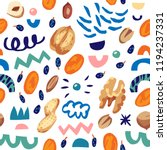 seamless hand draw pattern with ... | Shutterstock .eps vector #1194237331