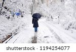 a woman with an umbrella is...   Shutterstock . vector #1194254077