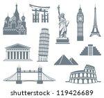 World Landmark Icon Set | Shutterstock vector #119426689