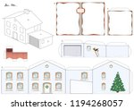 paper model of a house in... | Shutterstock .eps vector #1194268057